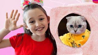 Öykü and Dad found a funny kitten