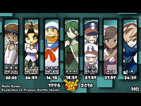 Evolution of Pokémon Trainer Battle Themes 1996-2016 (HQ)