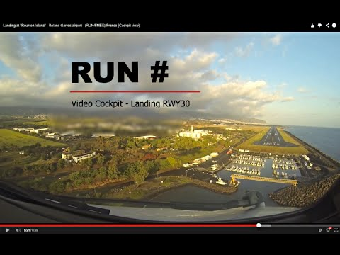 "Landing at ""Reunion Island"" - Roland Garros airport - (RUN/FMEE) France (Cockpit view)"