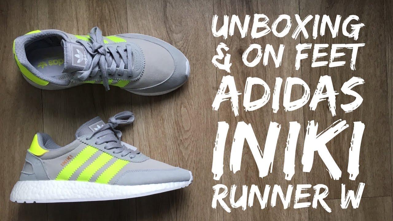 the best attitude 209ae 2cb93 Adidas INIKI RUNNER W clear onixsolar yellow  UNBOXING  ON FEET   fashion shoes  2017  HD