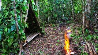 Bushcraft Overnight   Camping di Hutan, Membuat Shelter (Bivak) Segitiga dari Kayu dan Daun, Memasak