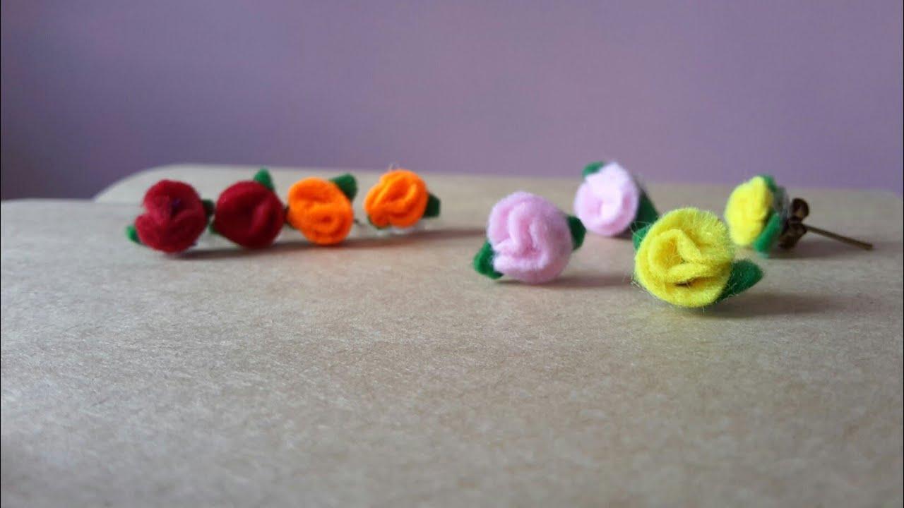 How to make felt paper flower earrings easily youtube how to make felt paper flower earrings easily mightylinksfo