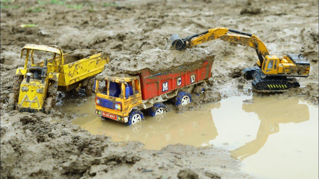 JCB Loading Mud Tata Truck And Mini Tractor | jcb ki khudai | Mt Tractor | Cs Toy