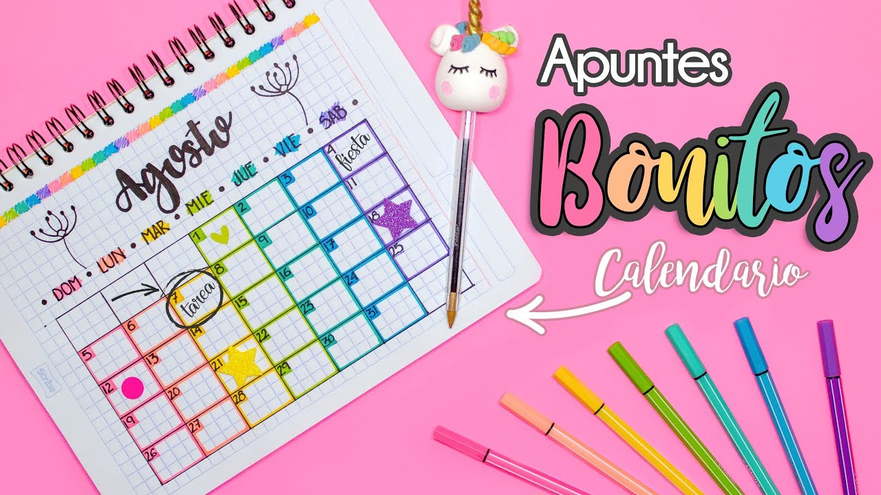 Calendario De Agosto 2019 Decorado.Apuntes Bonitos Calendario De Actividades Regresoaclases