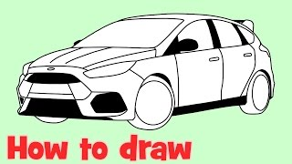 How to draw a car Ford Focus RS 2016 step by step for beginners