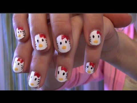 diy easy kitty nail art tutorial