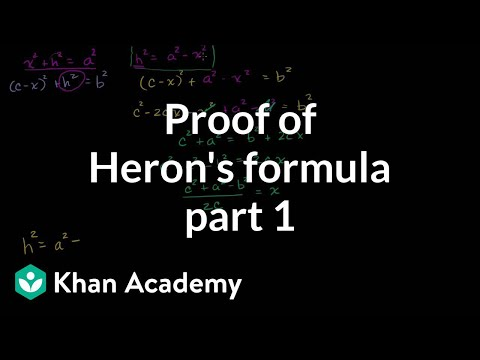 Part 1 of proof of Heron's formula | Perimeter, area, and volume | Geometry | Khan Academy