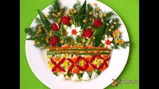 Салат 'Весенний букет' ( Яйца, Кукуруза, Лук, Огурцы, Редис)