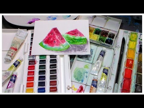 Cotman Watercolor Review & Watermelon Painting Demo