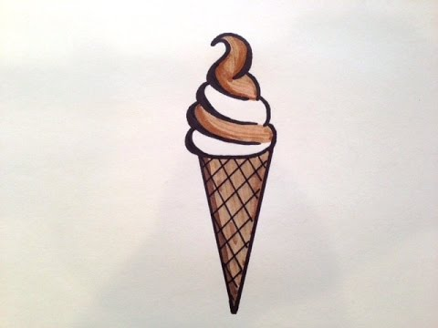 How to draw a swirl ice cream cone new youtube