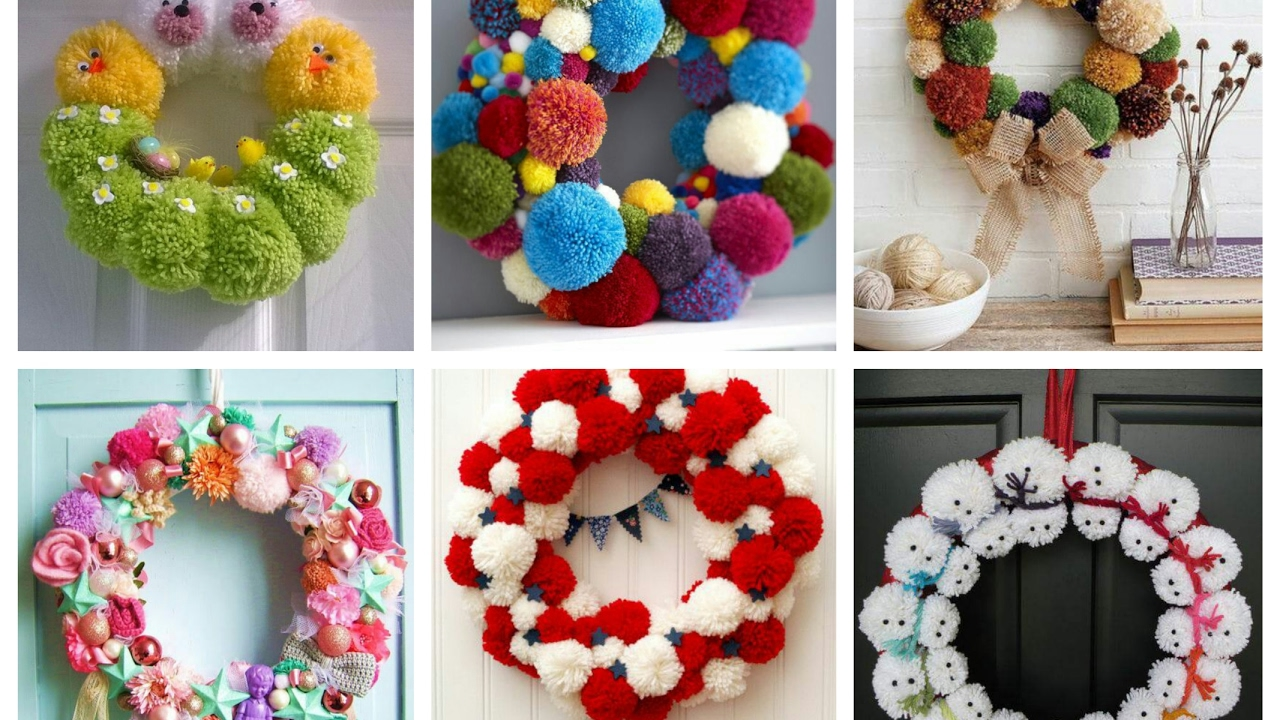 Pom Pom Wreaths Ideas For Every Season   Easy DIY Door Wreaths With Pompoms