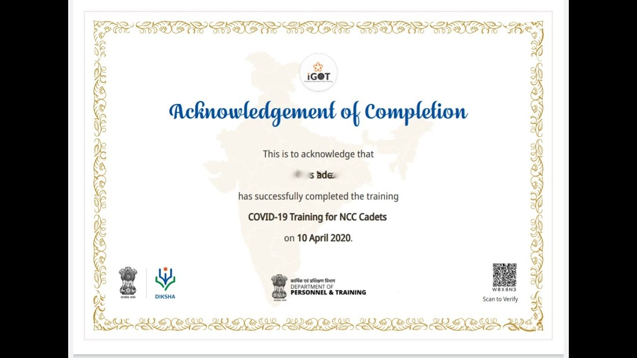 certificate ncc cadets completion covid
