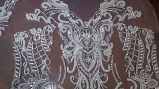 Люневильская вышивка. Аппликация для свадебного платья.
