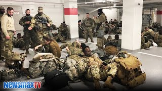 National Guard troops squeezed into DC parking garage   REACTION