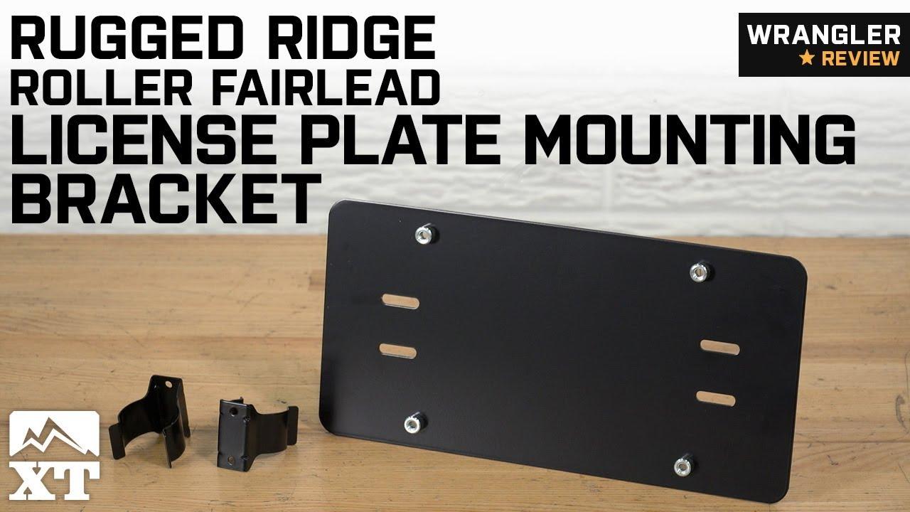 Rugged Ridge 11238.05 Black License Plate Mounting Bracket for Roller Fairlead