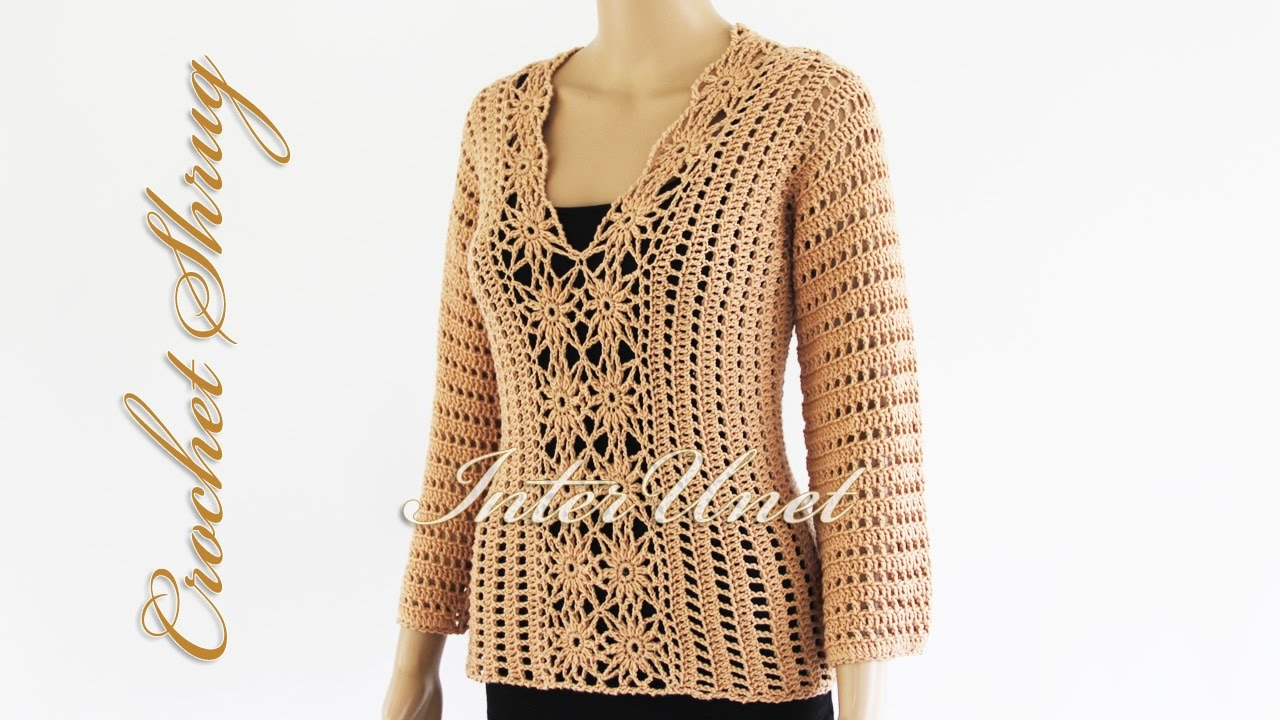 Lace sweater shrug crochet pattern - how to crochet a pullover. Part ...