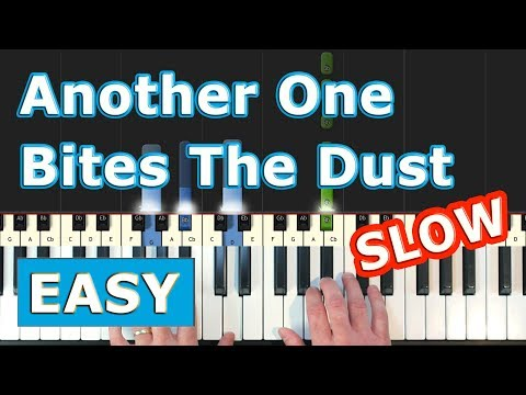 Queen - Another One Bites The Dust - SLOW Piano Tutorial Easy - Sheet Music (Synthesia) thumbnail