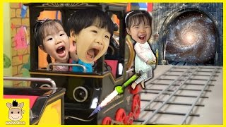 Indoor Playground Fun for Kids and Finger Family Play Slide Train Drive Colors| MariAndKids Toys
