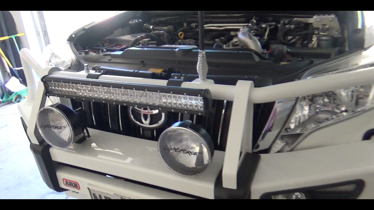fitting, setting up and testing a 26 inch light bar on a toyota prado