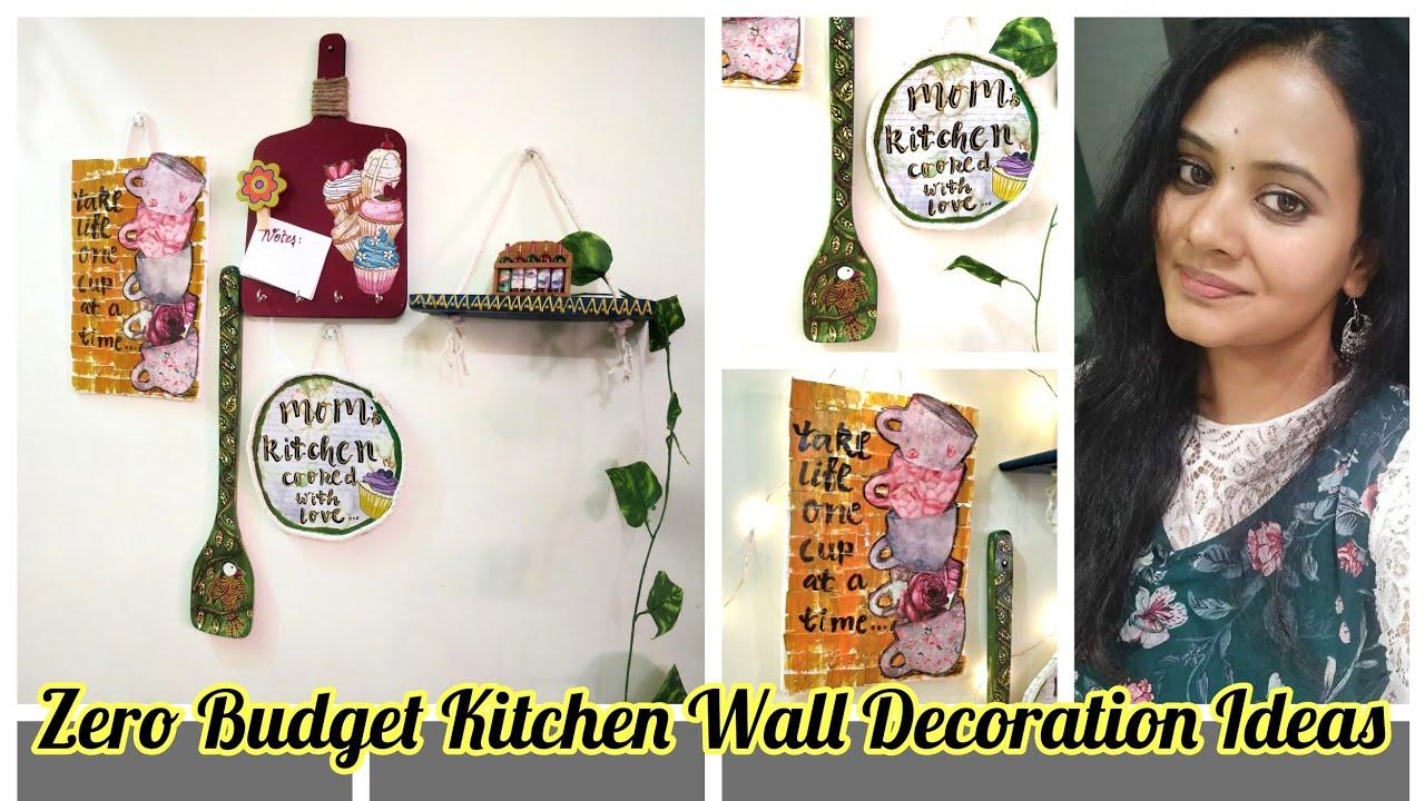Zero Budget Kitchen Wall Decoration Ideas Rental Makeover Diy Youtube