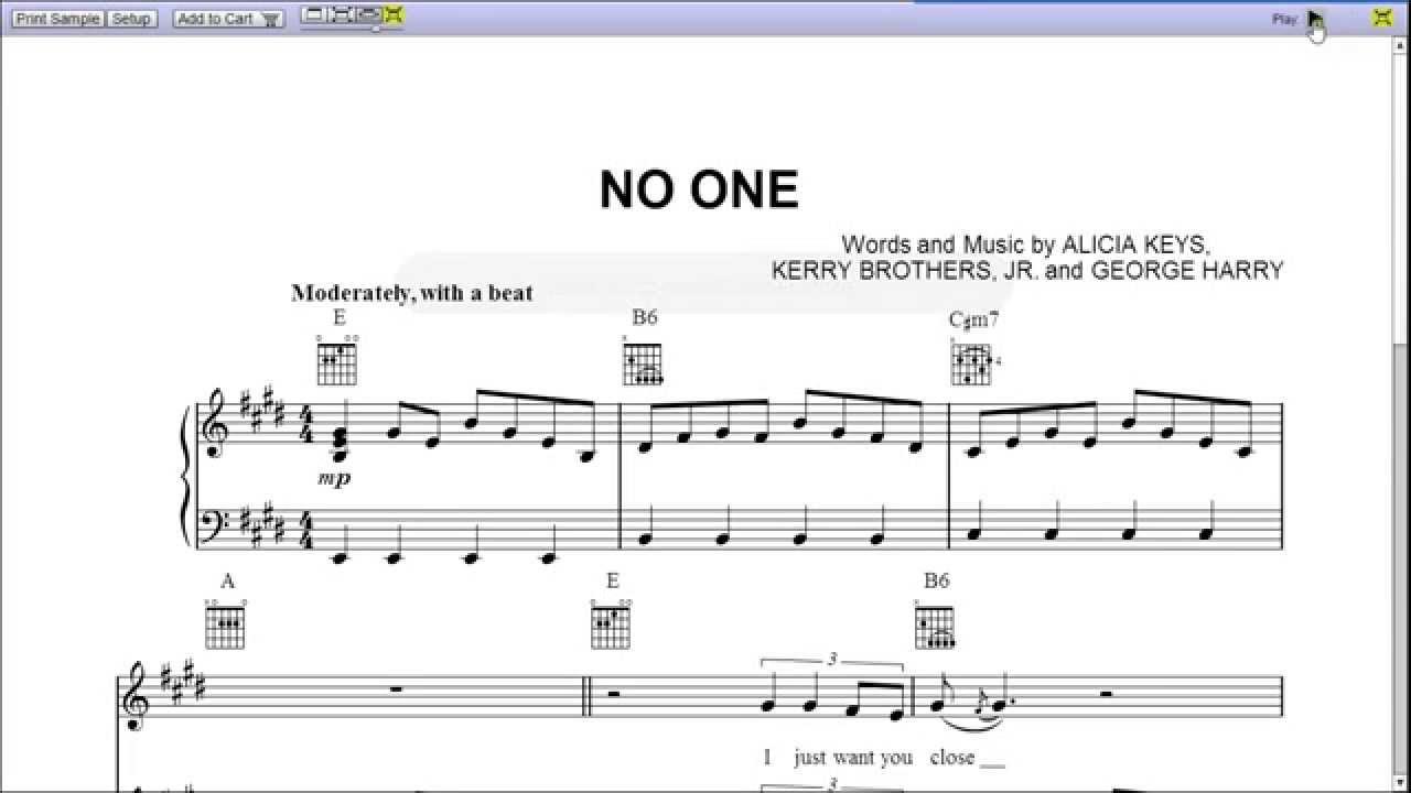 No One by Alicia Keys - Piano Sheet Music:Teaser - YouTube - photo#46