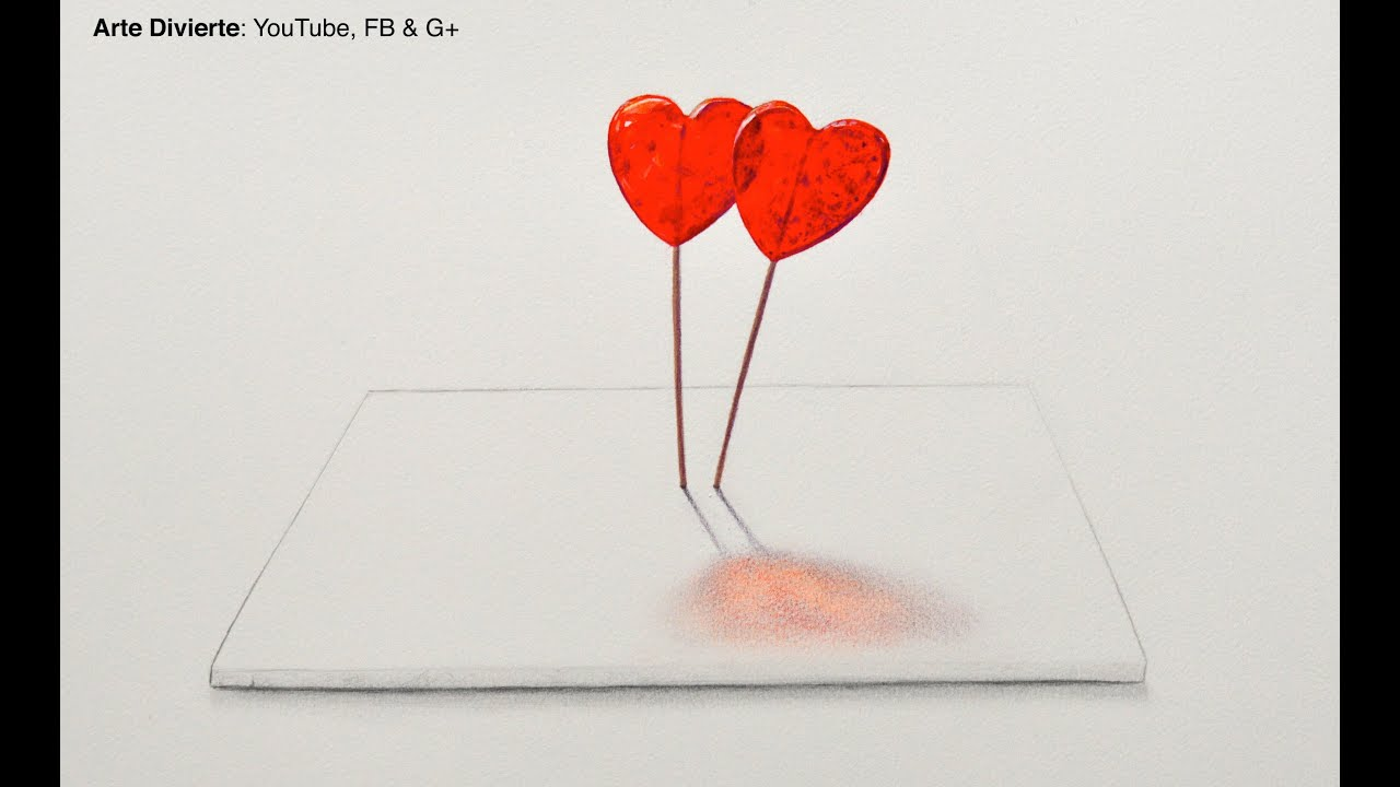 Como Dibujar Un Corazón En 3d Con Lineas: Cómo Dibujar Paletas De Corazón En 3D