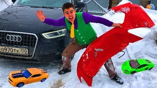 Bumper from Corvette & Mr. Joe on Audi Q3 Watered Toy Cars VS Red Man on Chevy Camaro for Kids