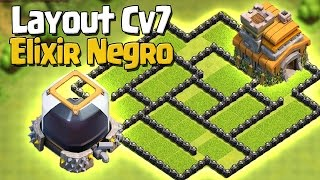 LAYOUT CV 7 PARA DEFENDER ELIXIR NEGRO [2016] - Híbrido - CLASH OF CLANS