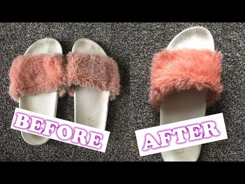 How to clean & restore faux fur slides 💟