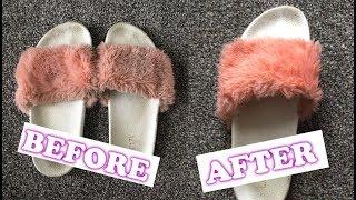 How to clean & restore faux fur slides 💟