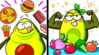 JUNK FOOD vs HEALTHY FOOD || Vegetables Go on a Diet || Avocado Couple
