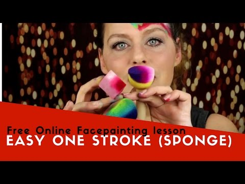 Free Online Facepainting lesson 10 Easy one stroke with a sponge