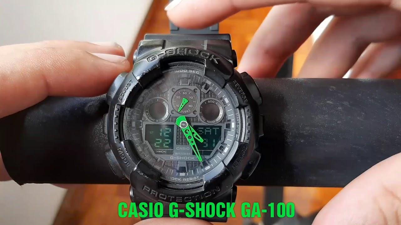 8f146e47f24 COMO AJUSTAR DATA E HORA DO RELÓGIO CASIO G-SHOCK GA-100 (ORIGINAL ...