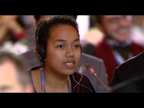 Selina Leem, 18 year old from Marshall Islands, speaks at final COP21 plenary