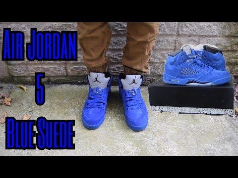 14b8315ff203ba Air Jordan 5 Blue Suede Review + On Feet Review (yeskicks.cn) - YouTube