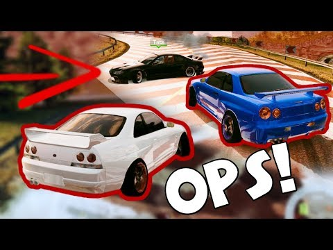 DRIFT a ostacoli Nissan Skyline - Fail & Win