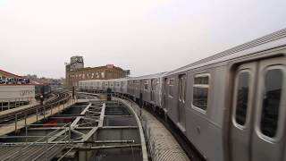Queens-bound R160A-1 (M) train leaving Myrtle Avenue-Wyckoff Avenue (BMT Myrtle Avenue Line)