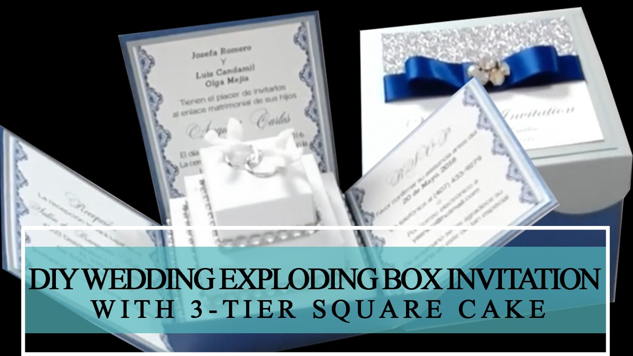 HOW TO MAKE DIY WEDDING EXPLODING BOX INVITATION WITH 3 TIER SQUARE CAKE