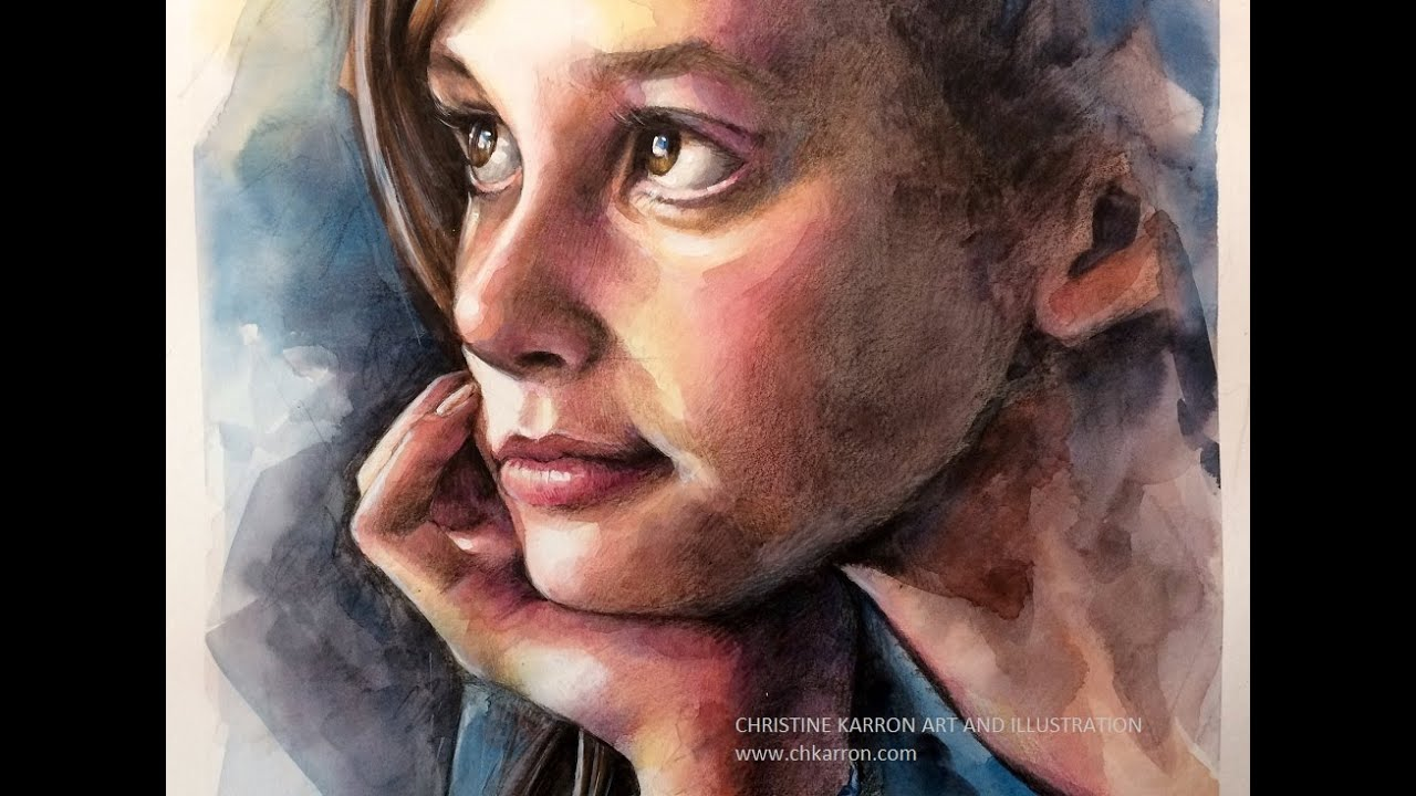 Watercolor and colored pencils portrait speed painting by ch karron