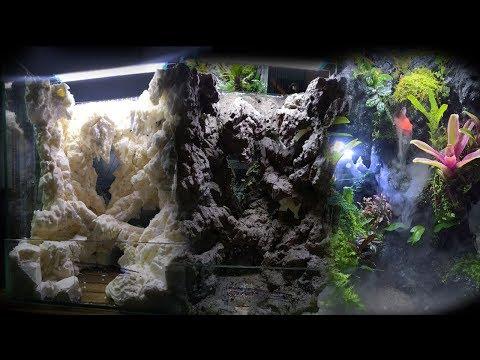 Làm hồ bán cạn hang đá và thác nước | Paludarium setup with waterfall and cave