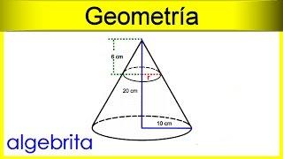 Encontrar el radio menor de un cono truncado utilizando triángulos semejantes Geometría 396