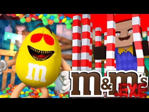 Minecraft - M&M's .EXE COME TO LIFE, HELLO NEIGHBOR SHOPPING CHALLENGE FAIL