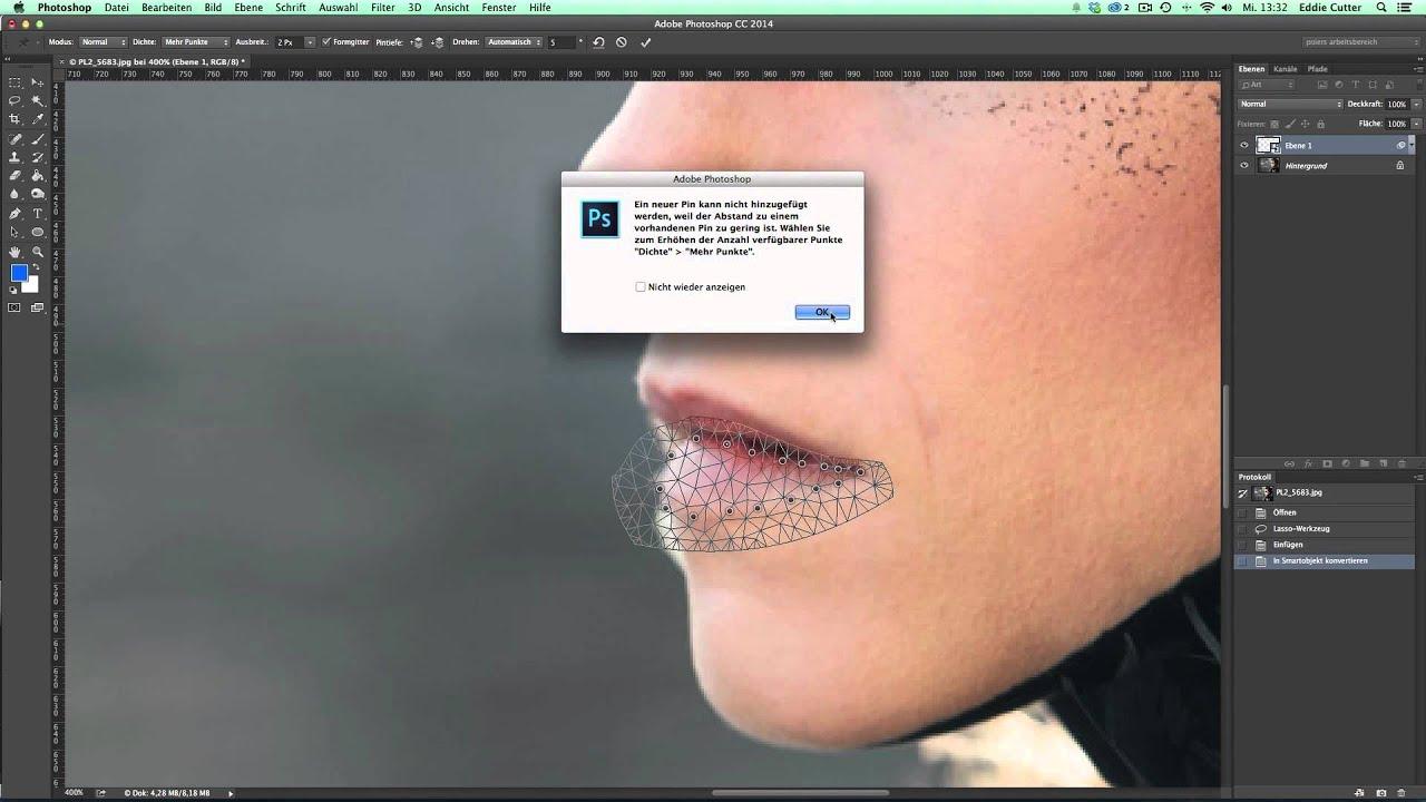 Photoshop: Mund schließen mit dem Formgitter - YouTube
