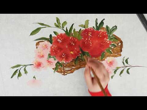 Как нарисовать Азалию видео урок How To Draw Azalea Painting Tutorial 진달래꽃 그림 그리기
