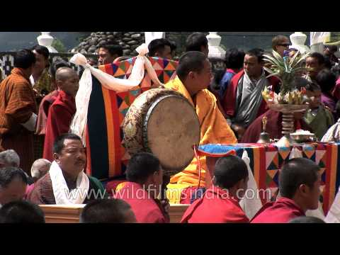 Monks performing the religious ceremony - Tsechu Festival