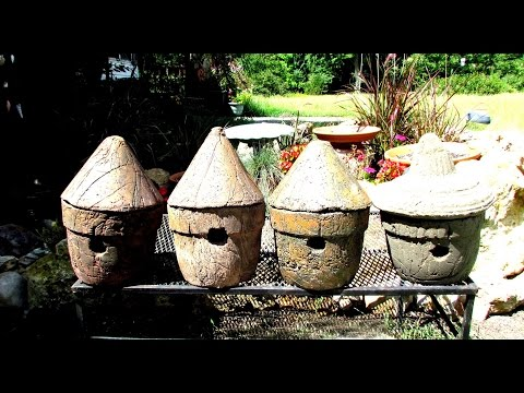 Making Hypertufa flower Pots & Bird House