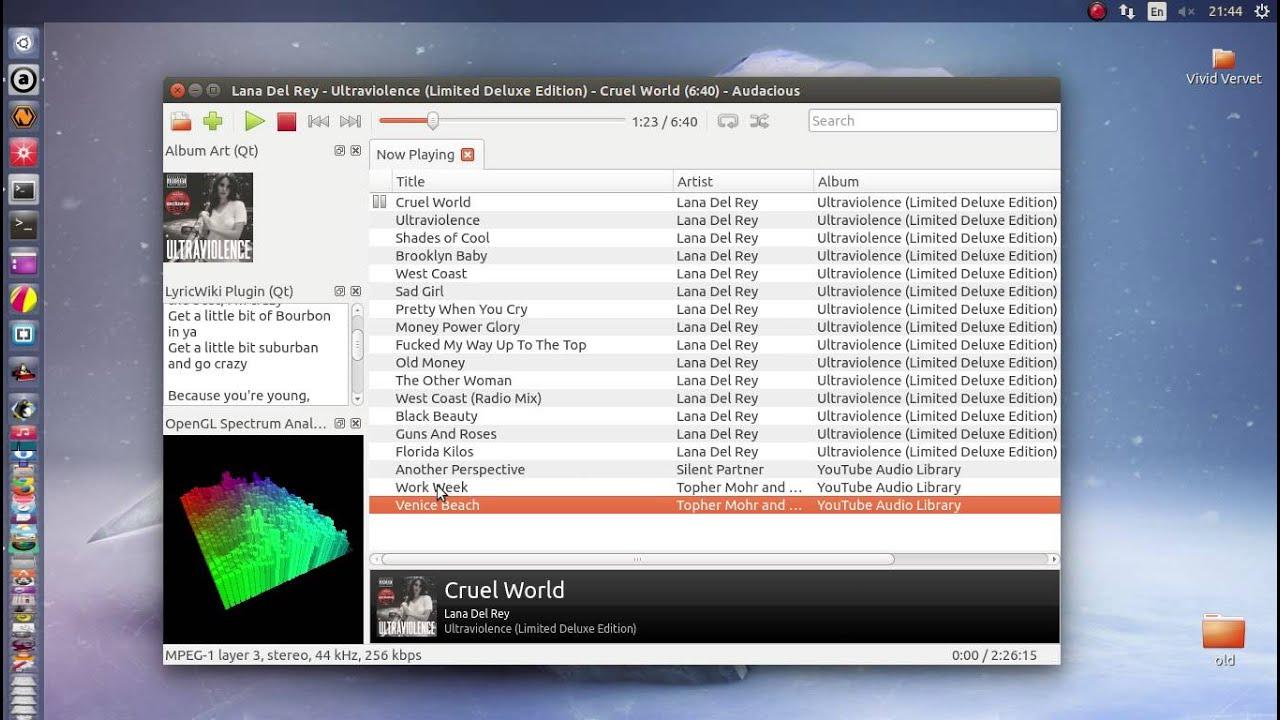 Audacious Qt audio player 3 6a1 on Ubuntu 15 04