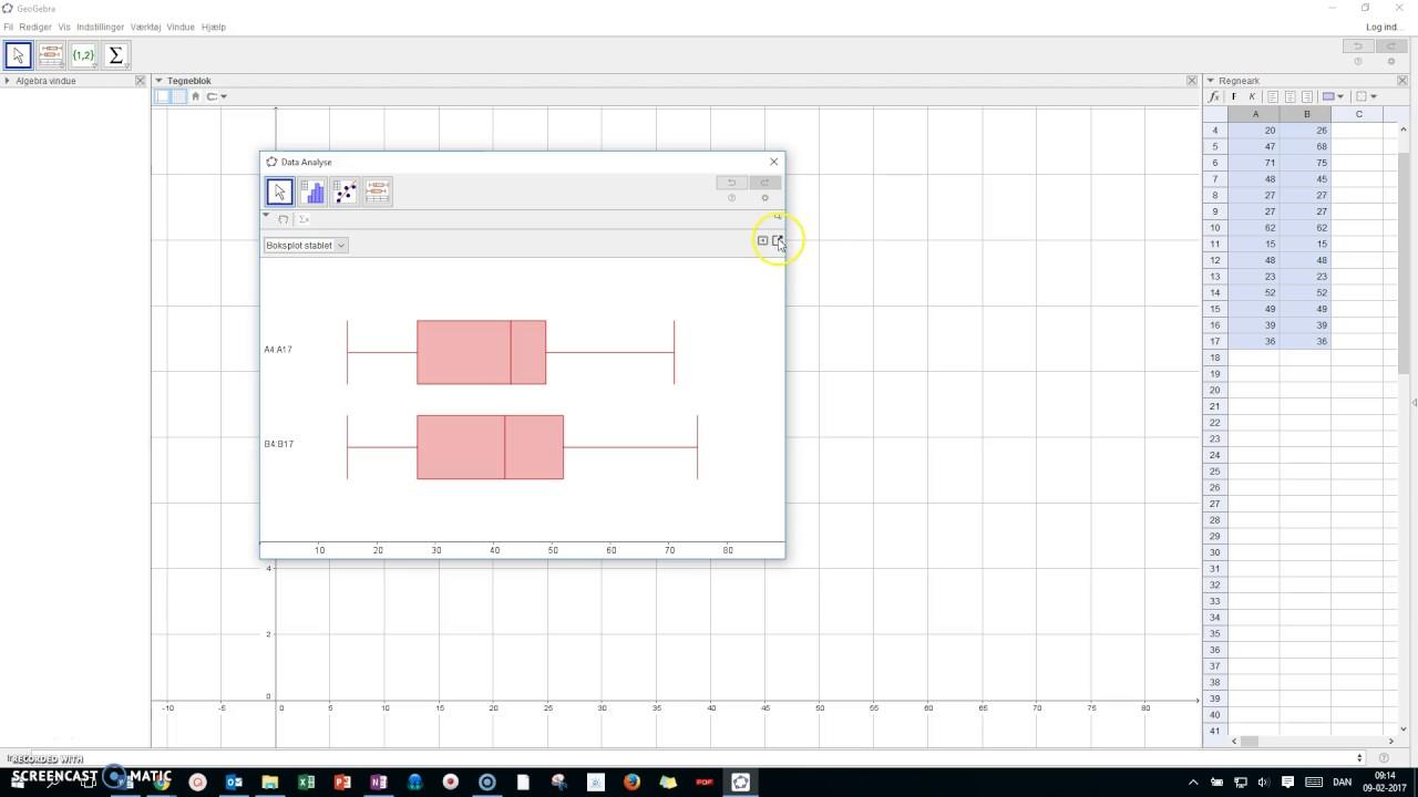 Boksplot i Geogebra - metode 2