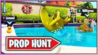 FIESTA EN LA *PISCINA YOUTUBER* PROP HUNT (FORTNITE MINIJUEGOS)
