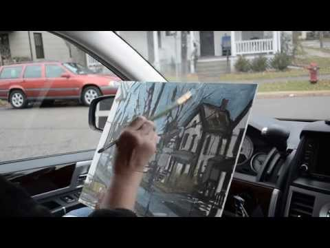 Plein air painting in my car - Ann Arbor